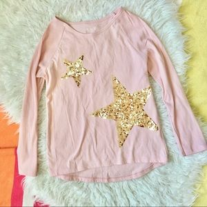 Sequin Stars Applique Pink Top 7-8